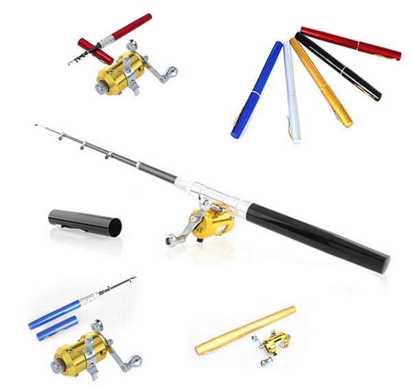 Telescopic Mini Fishing Rod Pen Shape Portable Pocket Aluminum Alloy Fish Spinning Pole Reel - Shenzhen dualwin lighting Technology Co., Ltd store