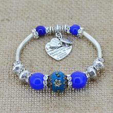 Crystal Bracelet Bangles Antique Silver European Bead Love Charm Glass Beads Strand Bracelets For 2014 Women Men Fashion jewelry(China (Mainland))
