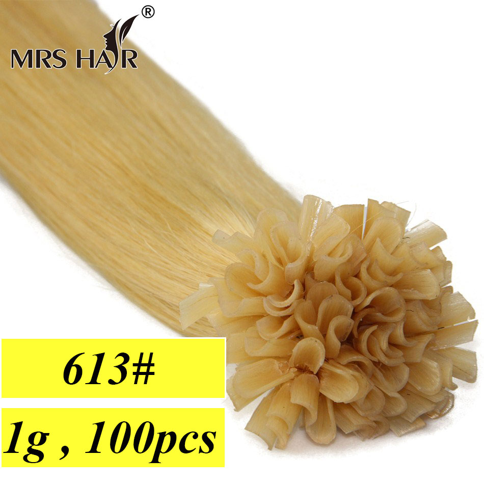 "613# Light Blonde Hot Fusion Nail Hair Extensions U Tip 1g/pc Remy Hair Extensions Keratin 100pc 16"" 20"" 24"" New Arrival MrsHair(China (Mainland))"
