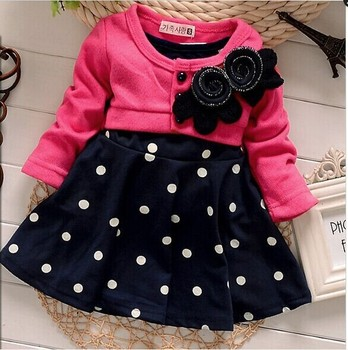 Baby girl dress princess autumn Dots dress wedding kids party dresses 2015 new arrival retail free shipping designs baby frock
