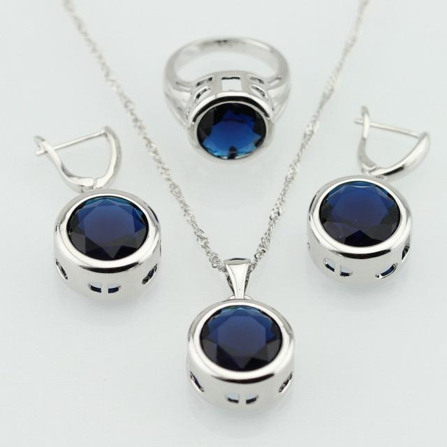 Круглый синий сапфир комплектов серебряных украшений для женщины ожерелья серьги ...