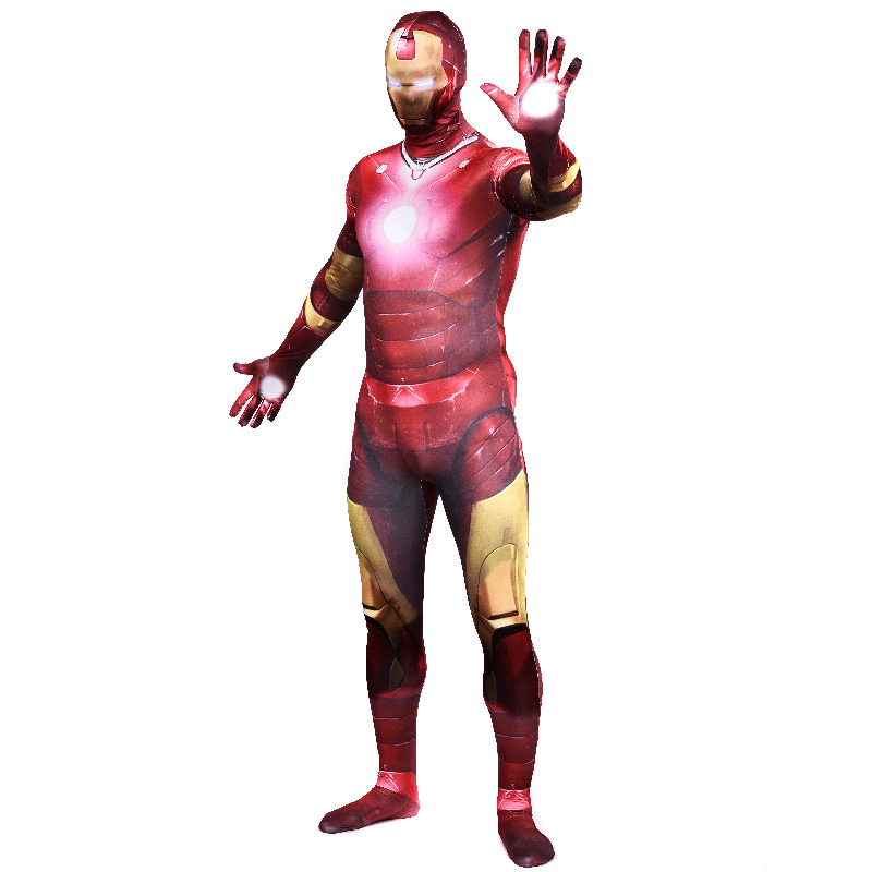 Avengers 2 Age of Ultron Iron Man costume adult superhero cosplay party full bodysuit zentai halloween costumes jumpsuits custom(China (Mainland))