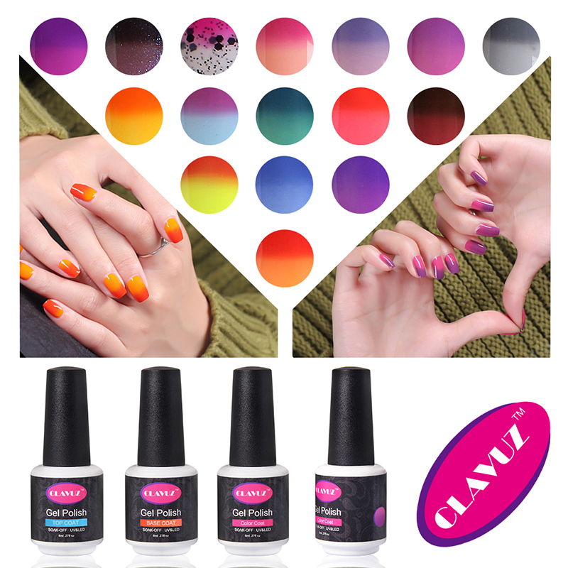 CLAVUZ Temperature Color Changing Gel Nail Polish Mood Nail Gel Polish UV Nail Glue Gel Lak Gel Varnishes Gelpolish(China (Mainland))