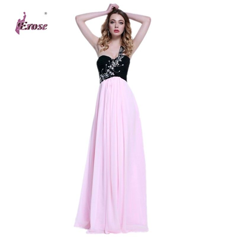 ADE-304 2016 New Stock A-line Beaded One Shoulder Black Pink Chiffon Long Evening Dresses Gown - 100% Satisfaction-Suzhou Erose Wedding Dress store