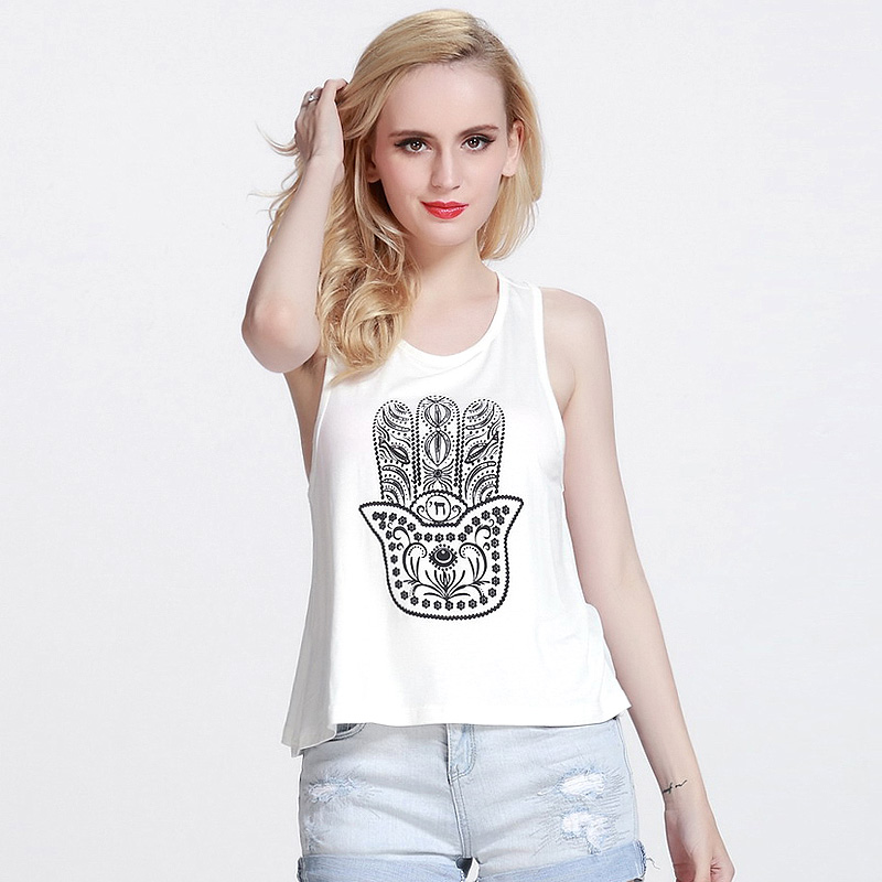 New 2015 Lucky Palm Fashionable White Women Tank Tops Female T-Shirts Sleeveless Clothes Womans t37DT20 - Sunny1978 Kids Store store