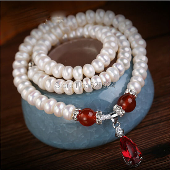 Beautiful pearl necklace, freshwater pearls and Red agate perfect match, for the public to wear jewelry(China (Mainland))