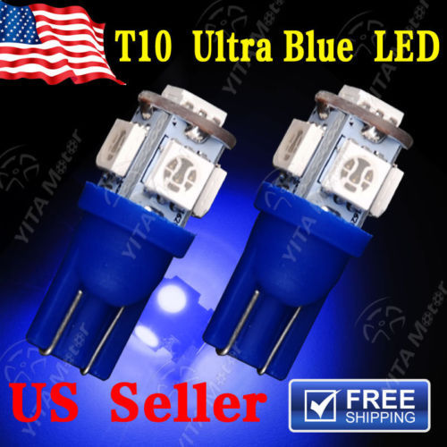 2pcs/lot  Car LED Light T10 5-SMD LED LICENSE PLATE Light bulbs W5W 2825 158 192 168 194 ULTRA BLUE Lamp for Car Hot Selling(China (Mainland))
