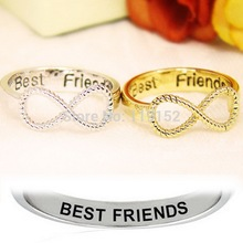 12PCS/Lot Wholesale Best Friends Ring Women's Infinity Ring Engraved Rings O Jewelry Gold Silver plated Jewelry Free Shipping