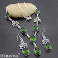 hermosa jewelry Shiny charming flower shape retro oval green topaz 925 sterling silver beautiful necklace Earring
