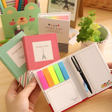 creative hardcover memo pad post it notepad sticky notes kawaii stationery diary notebook office school supplies + pen(China (Mainland))