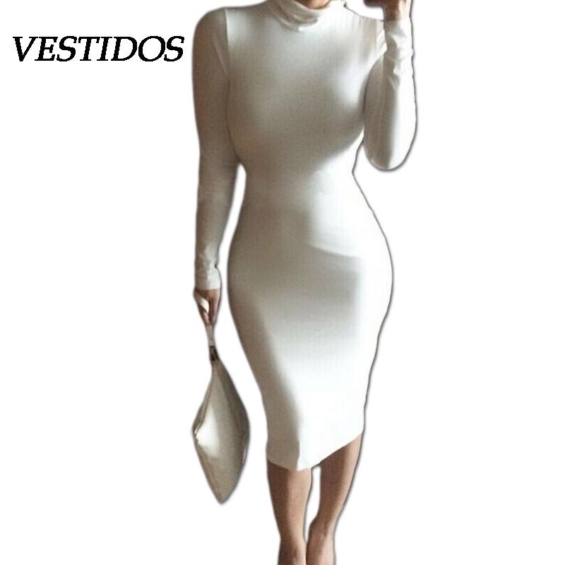 2015 Women Winter Casual Bandage Dress Long Sleeve Celebrity Party Dresses White Black Cotton Evening Elegant - Vestidos Official Store store