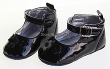 Or017 baby girl  black leather rose flower first-walkers shoes home  toddler shoes  size 2 3 4 in US freeshiping(China (Mainland))