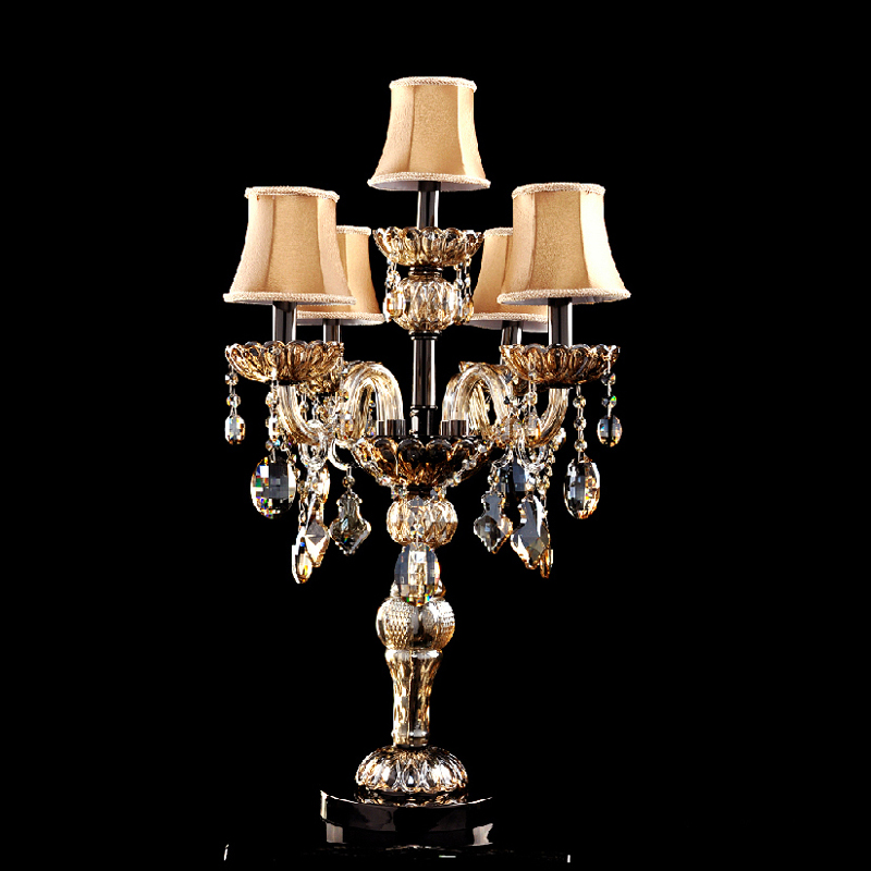 Modern Table Lamps For Bedroom Crystal Table Lamp With Fabric Shade Led Table Lighting For