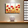 large 3 panel wall art Abstract unframed red poppy colorful handmade oil painting set on canvas