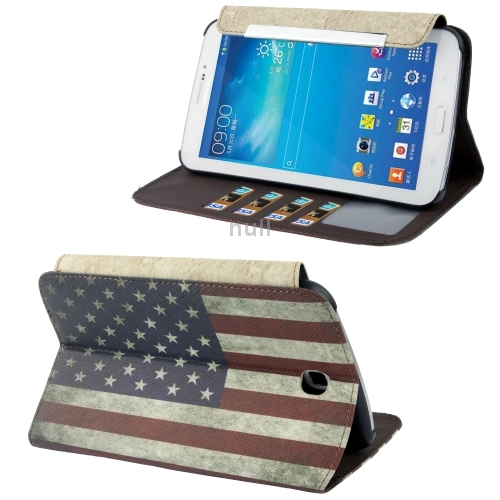 Гаджет  Retro USA Flag Pattern Leather Case with Credit Card Slot and Holder for Samsung Galaxy Tab 3 (7.0) / P3200 Free Shipping None Изготовление под заказ
