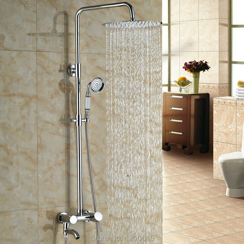 Newly Chrome Finished Bathroom Shower Faucet Set w/ Hand Shower 10 Inch Rain Shower Mixer Tap Wall Mounted