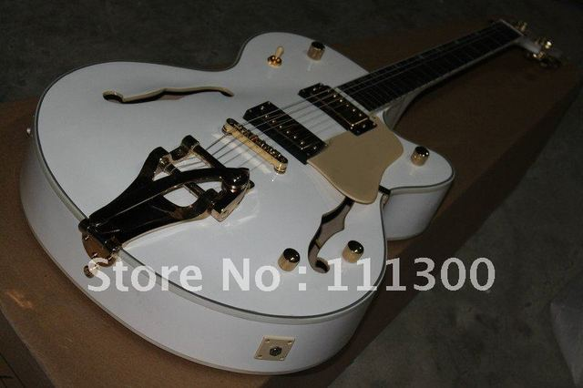 best Musical Instruments Custom Shop 335, Stop bar white Electric Guitar