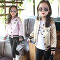 2016 Girls Jacket Leather Child Autumn Winter Girls Coats and Jackets Full Sleeve Kids Baby Jacket