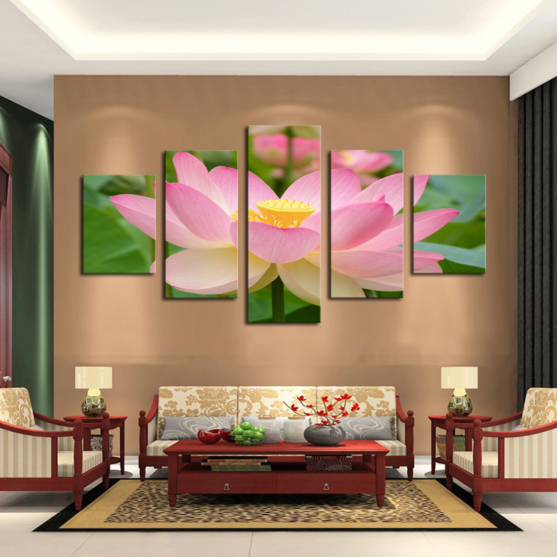 5 Panel Pink Lotus Modern Painting Canvas Wall Art Picture Home Decoration Living Room Print--Large Unframed - Whisper of painting store