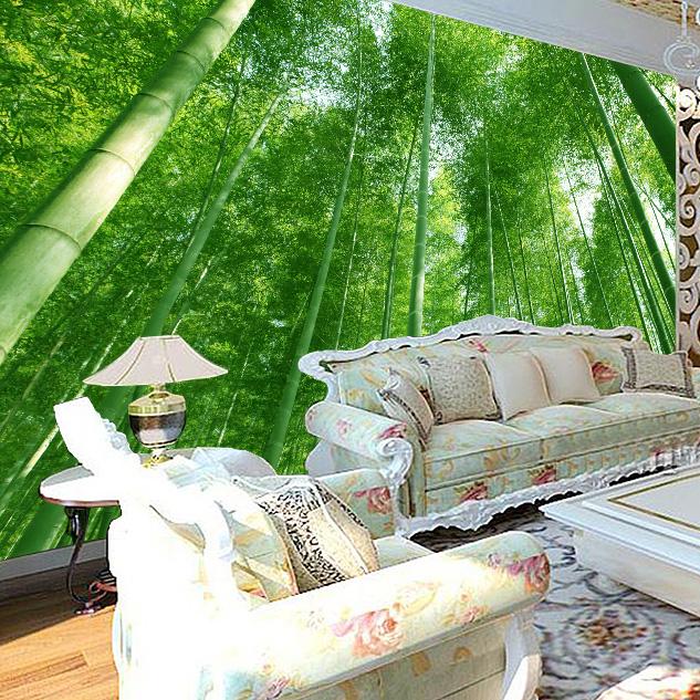 Bamboo forest landscape 3d wallpaper stereoscopic large for Bamboo forest wall mural wallpaper