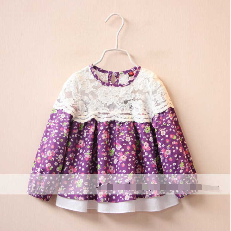 Brand wholesale Childrens Lace hollow-out splicing print skirt shirt princess doll shirt<br><br>Aliexpress