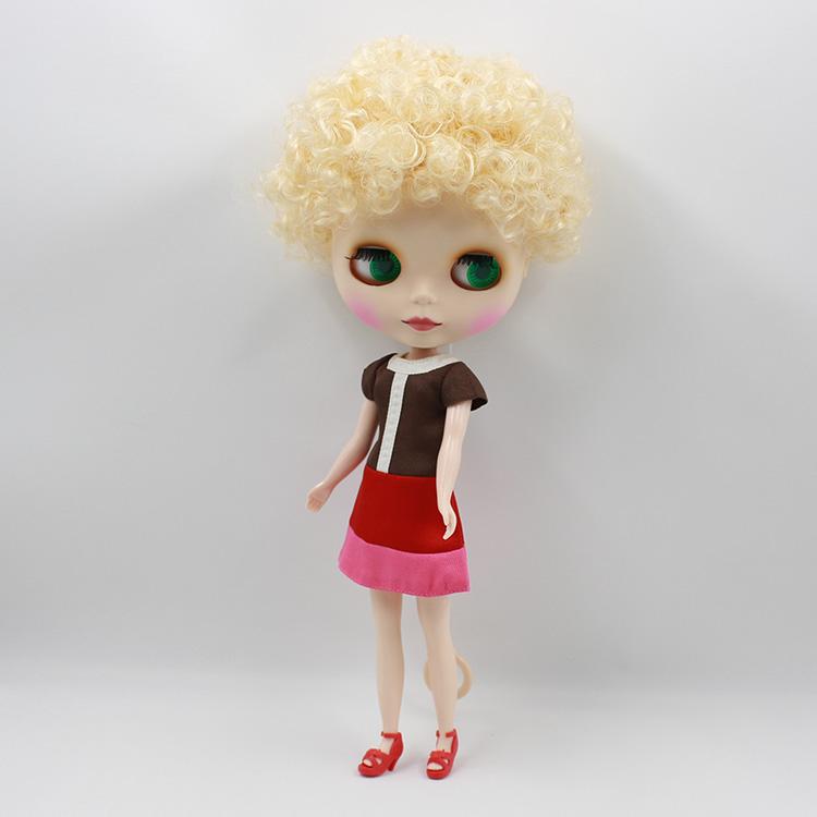 Фотография Nude Doll Bonecos Blyth doll diy Short yellow curly hair suitable for change DIY doll toys baby dolls for girl gifts