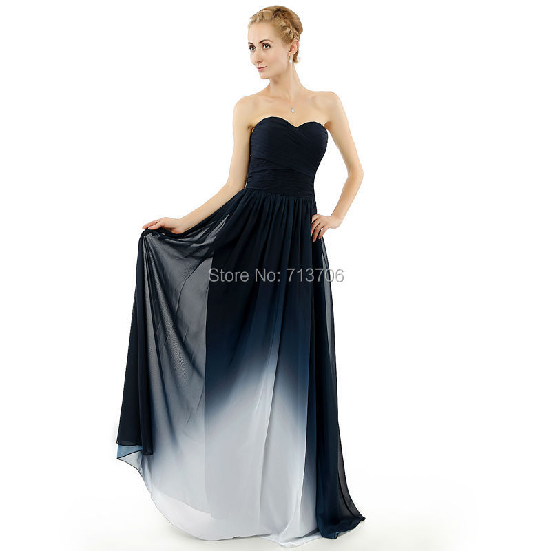 New Real Photo Abendkleider A Line Floor Length Gradient Ombre Chiffon Pleats long Party Prom Gowns Beach 2015 Evening Dresses(China (Mainland))