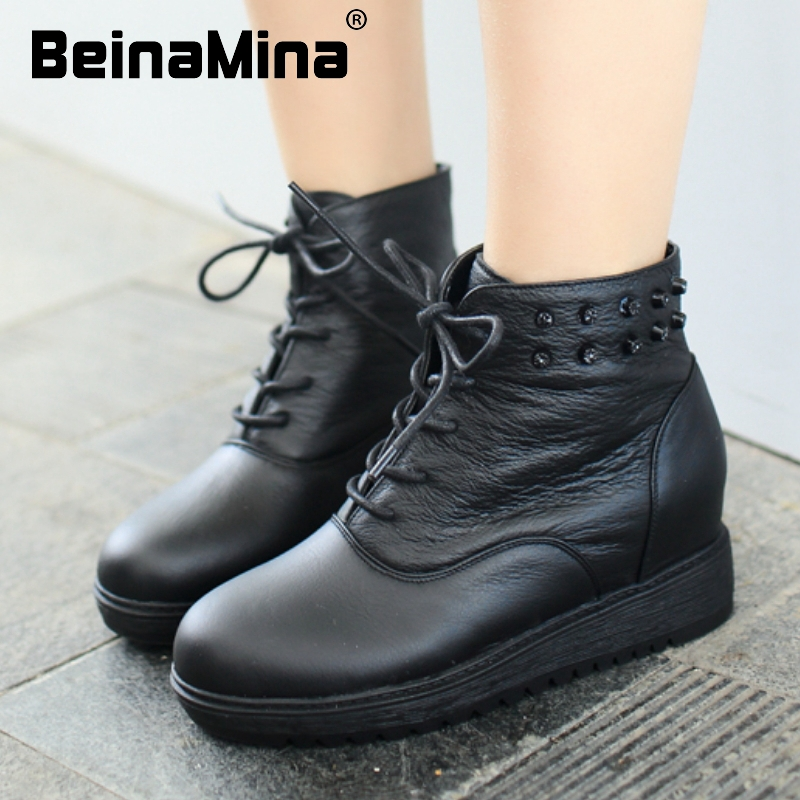 women real genuine leather martin flat ankle boots half short botas autumn winter boot warm footwear shoes R7597 size 35-39<br><br>Aliexpress
