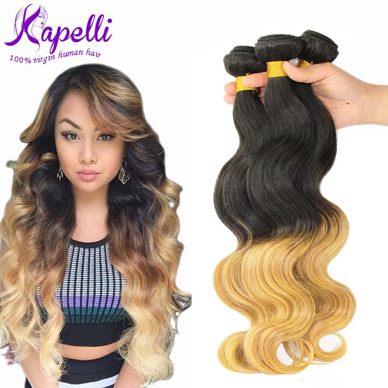 Hot Sale 8A Brazilian Virgin Hair Body Wave Ombre Hair Extensions 3pcs/Lot Brazilian Hair Weave Bundles Ombre Brazilian Hair