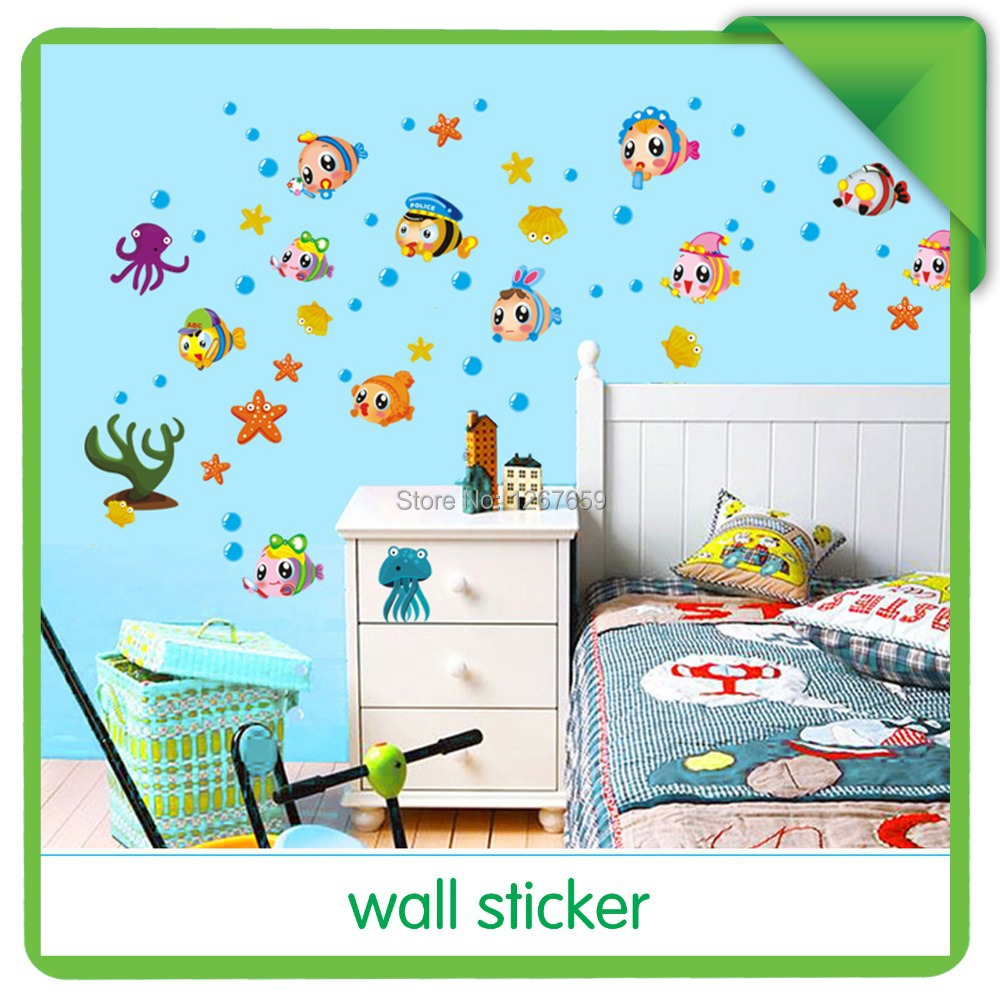 Free shipping Diy wall stickers child real bathroom kitchen cabinet wall stickers fish AY652(China (Mainland))