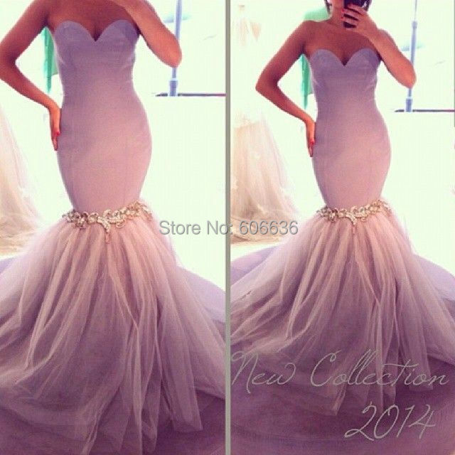 2014 Mermaid Sweetheart Tulle Lilac Crstal Evening Dresses Special Occasion Prom Gowns - Lilytown's Wedding Store store