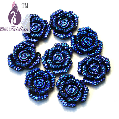 Resin Flower 3D Flatback Rhinestone Flower 100pcs/lot 20mm AB Color Rose Flower , Nacklace Pendent Jewelry Finding(China (Mainland))