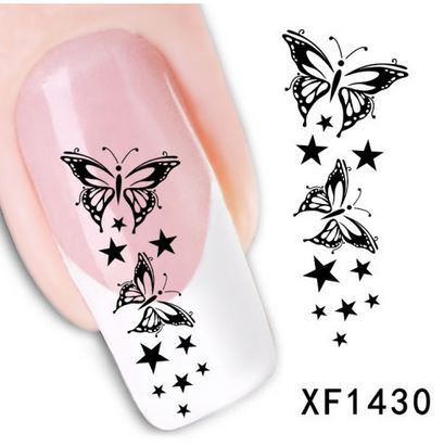 2015 Brand new Stickers nails 1 sheet black butterfly 3D Design nail Art Decal Tools safe natual false XF1430 - GREEN SHINE STORE store