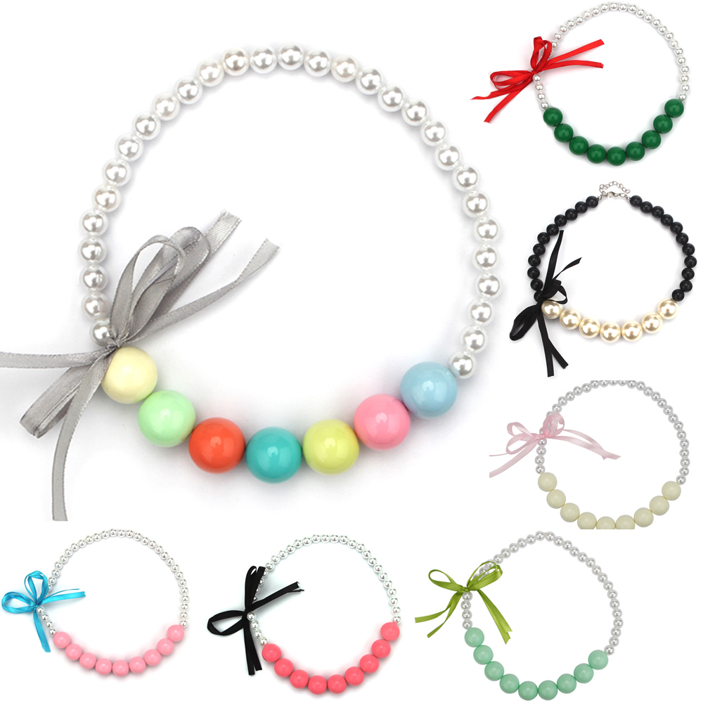 2pcs Cheap Chunky Necklace Ribbon Bow Imitate Pearl Beads Bubblegum Necklace Kids Toddler Photo Prop Necklaces(China (Mainland))