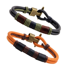Buy Pure Handmade Genuine Leather Bracelets Brand Fashion Punk Cuff Bracelets & Bangle Women Men Jewelry Accessory for $3.18 in AliExpress store