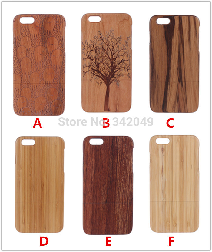 High Quality Natural Handmade Wooden Wood Case True Bamboo Cover For Apple iPhone 6 Plus 5.5'' Thin Carving Wooden Cases Covers(China (Mainland))