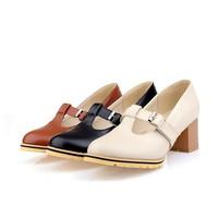 ретро мягкой кожи сладкий t пояса пряжку квадратные каблуки 5,5 см насос воздуха весной платье бюро женщин Топ размер обуви