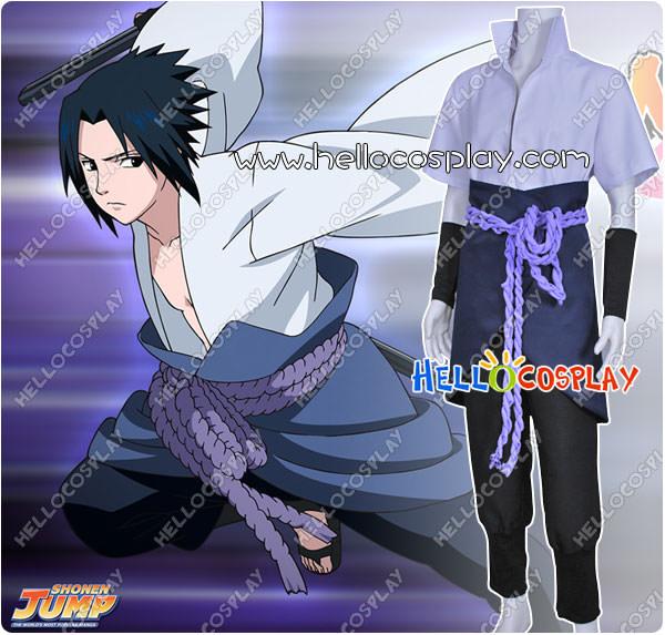 Free Shipping Naruto Cosplay Sasuke Uchiha Costume Tailor-Made(China (Mainland))