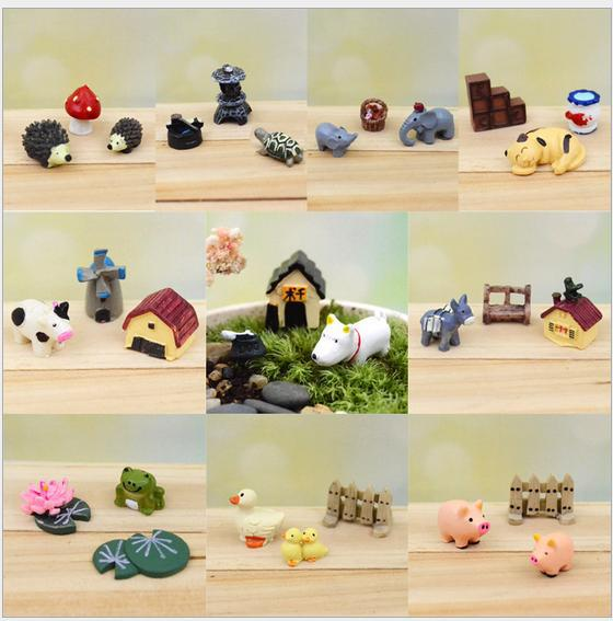 Sale 3 pcs set lovely mini animals miniatures plants fairy for Gnome 3 decoration fenetre