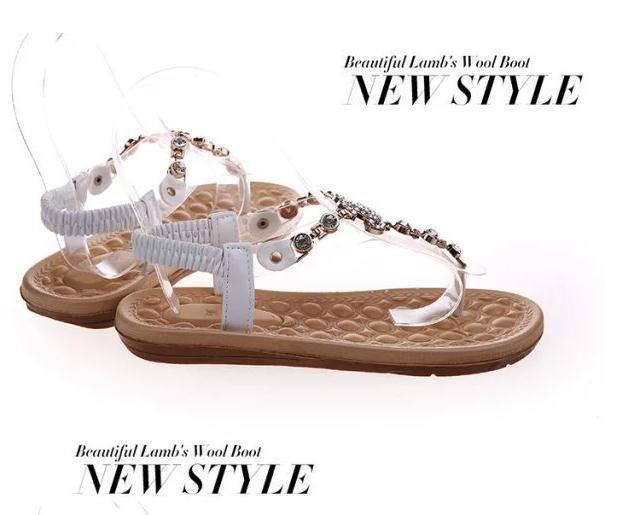 Free shipping.2015 new fashion European and American decorative flat sandals women metal rhinestone flip flops shoes wholesale.(China (Mainland))