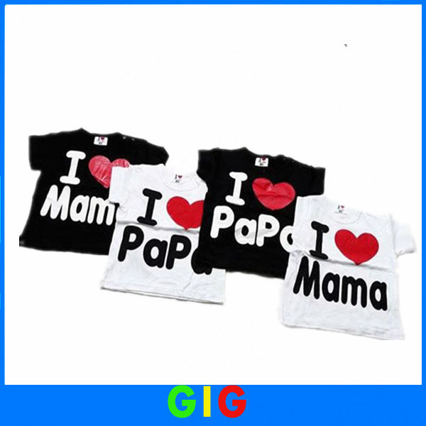 Wholesale NEW kids top clothes color white and black children t shirt for boy and girl i love papa mama baby t-shirt ,20pcs/lot