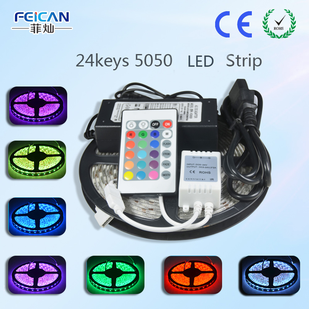 5M/Roll 60LED/m RGB LED Strip SMD5050 24Key IR Remote Controller 12V 6A Power Adapter Flexible Led Light Home Decoration Lamps(China (Mainland))