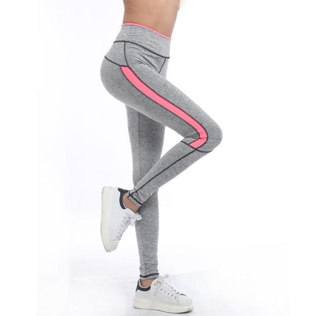 Women Lady running sport pant  Fitness Legging light grey pink spring gym activewear legging 1208 American Original Order