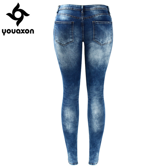 Women`s Celebrity Style Fashion Blue Low Rise Skinny Distressed Washed Stretch Denim Jeans For Women Ripped Pants