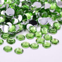 Junao 2 3 4 5 6 Mm Jelly Putih AB Kristal Berlian Imitasi Datar Kembali Kristal Berlian Imitasi Dekorasi Nail Art Bulat batu Resin Scrapbook(China)