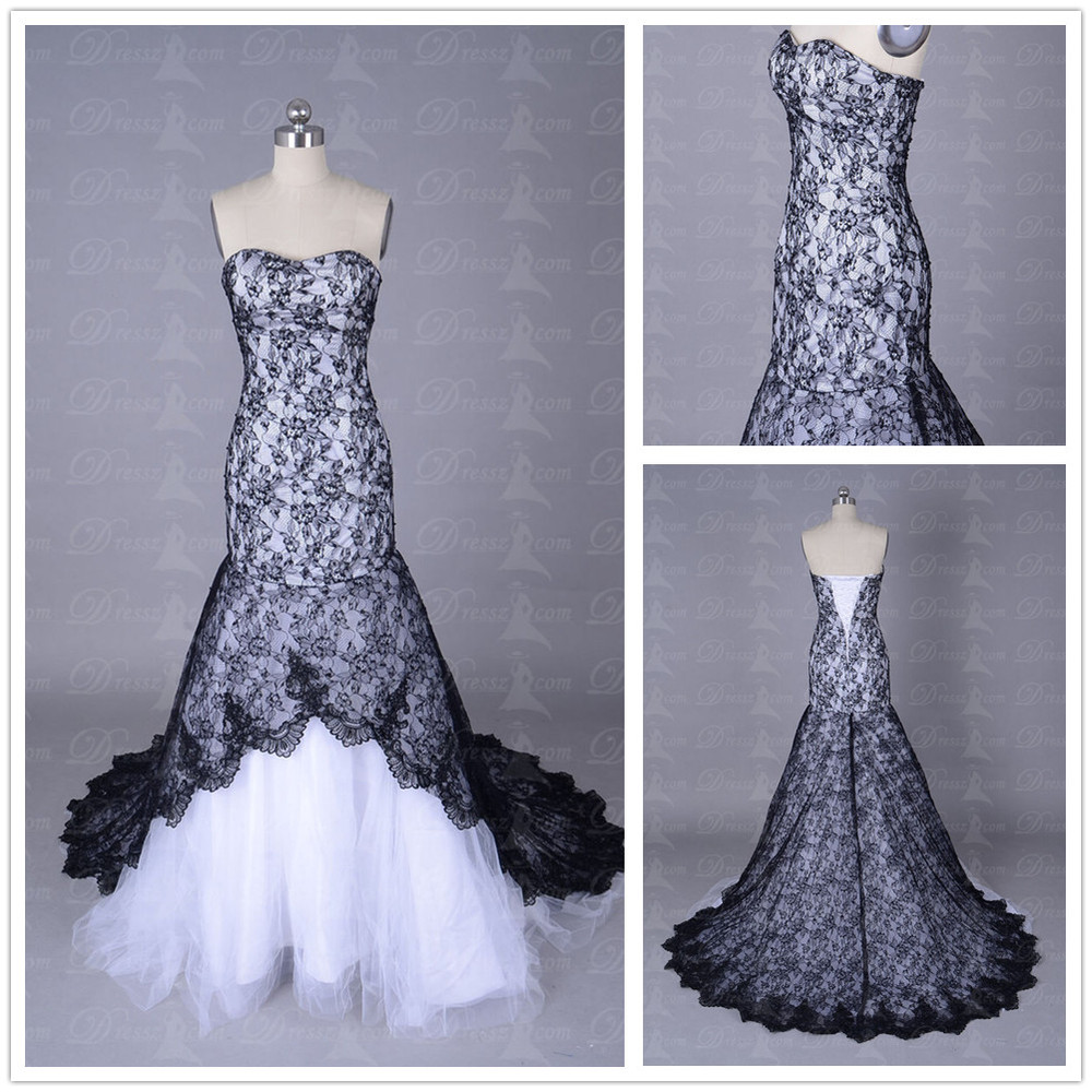 Custom made top quality bodice sheath sexy black and white for Best lace wedding dress designers