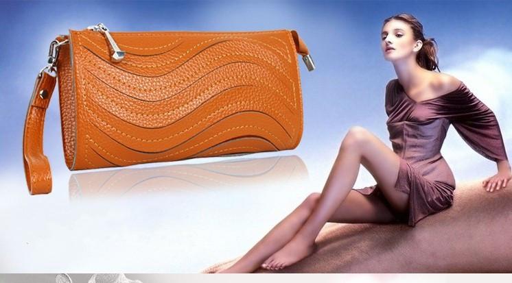 Female wallet clutch coin purse zipper long design horizontal chain book folder Sky Blue - shao qing's store