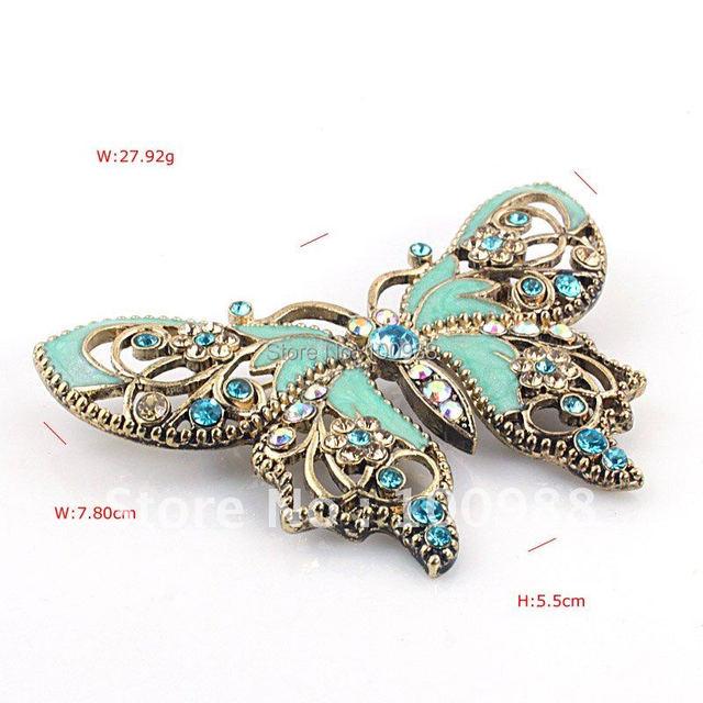 P168-434A  Free Shiping10PC/Lot  Blue Crystal Rhinestone Gem Enamel Luxury Butterfly Pin Brooch
