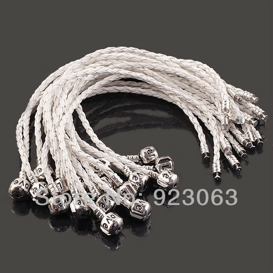Free Shipping 10pcs/lot Fashion 20CM Unisex White Leather carve Love Clasp European Charm Cuff Bracelets Fit Spacer Beads(China (Mainland))