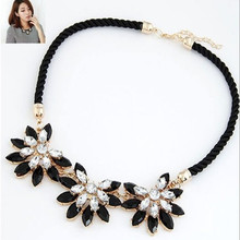Star Jewelry Wholesale For Women Maxi Necklace 2015 New Design Fashion Gem Flowers Rhinestone Statement Necklaces & Pendants